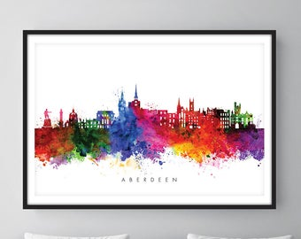 Aberdeen Skyline, Aberdeen Scotland Cityscape Art Print, Wall Art, Watercolor, Watercolour Art Decor [SWABZ01]