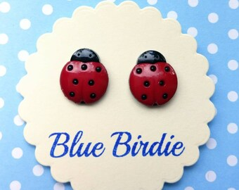 Ladybird earrings ladybird jewellery ladybird jewelry ladybird stud earrings insect earrings small ladybug earrings ladybug jewelry gifts