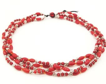 """17.5"""" Coral, Crystal and Pewter necklace"""