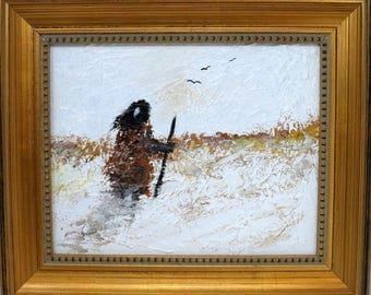"""Looking for Horses. Original 8""""x10"""" impressionist painting. Charlie Stone Art. Native American Indian. Framed. Ready to hang. Free shipping."""