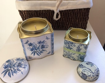 Handmade vanilla scented blue and white tea caddy candle set
