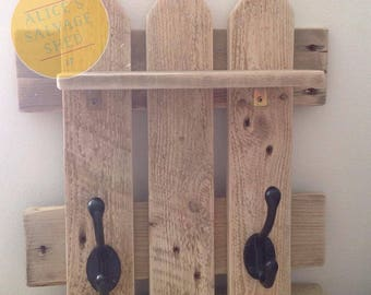 Rustic reclaimed wood coat rack and shelf