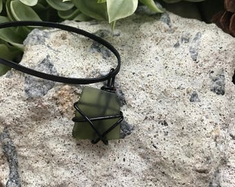 Army Green Sea Glass Wrap Necklace