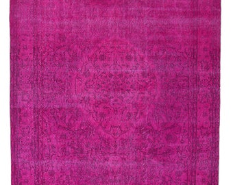 Turkish Vintage pink Overdyed Rug - Handmade Anatolian Rug