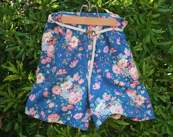 Floral Women's Shorts, Blue Cotton Shorts. Knee Length Shorts, Size 14 Shorts, Springtime Shorts, Spring Bloom Pattern, Pink & White Flower