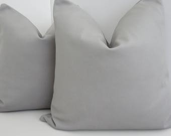 Light Grey Pillow Covers- Grey Brushed Canvas Fabric- Grey Pillows- Solid Grey Pillow- Accent Pillows
