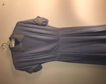 50s Light Blue Linen Dress