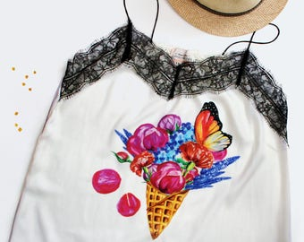 FLOWERS ICE CREAM  - Silk top by LovelyBones Clothing