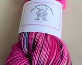 UK Hand dyed  yarn superwash merino nylon 4ply fingering sock yarn 'LOVING PINK'