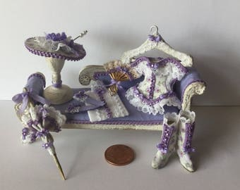 Handmade DollHouse Miniature 1:12 scale Ladies lilac dressed seat matching set Corset hat boots  gloves parasol fan and blouse