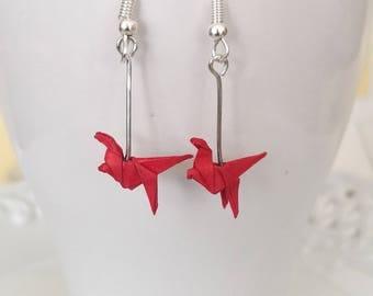 Miniature Origami Dinosaur Earrings-Origami Earring-Cute Dinosaur Jewelry- Paper Dinosaur Earring-Dangle& Drop earrings-Valentine's Day