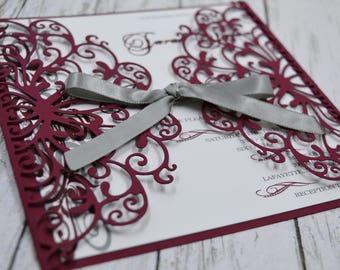 Wedding Invitation Burgundy and Grey Thermography (Raise Ink)