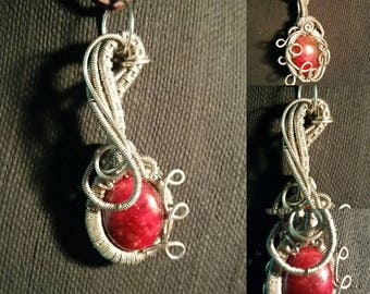 Beaded Pendant in German Silver Wire Wrap!