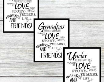 Dad, Grandpa and Uncle Digital Print ~ Father's Day Printable Art ~ Digital Wall Art