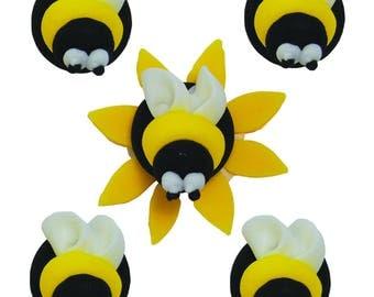 Edible Bumblebee Animal Sugar Cake Topper Cupcake Decoration