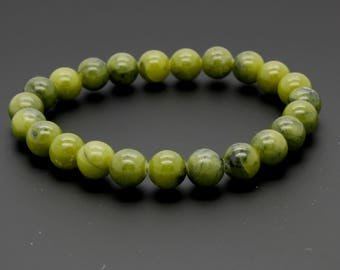 "New Jade Beads Size 8mm. Length 8"" Semi-Precious Gemstone Elastic Cord Bracelet Accessories"