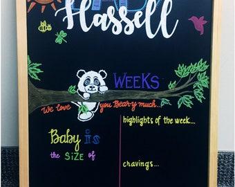 Custom Weekly Reusable Pregnancy Baby Bump Board Chalkboard Sign Week by Week Countdown Milestone Chalkboard Sign Baby Announcement Panda