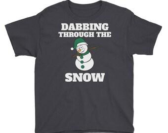 Funny Dabbing Through the Snow Snowman Christmas Shirt