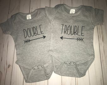 Twin Bodysuit Set-Double Trouble-twins baby shower gift-new baby gift-matching bodysuits set