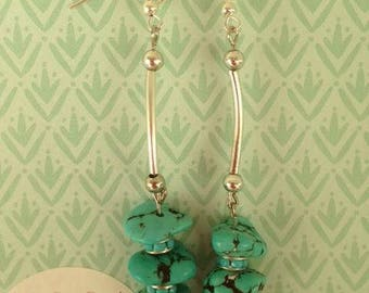 """""""Alcidie"""" earrings in silver tone turquoise beads"""