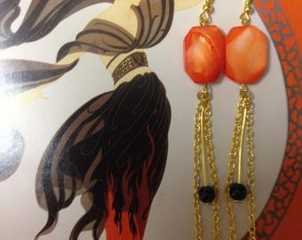 """""""Olympus"""" earrings with orange, black beads and golden chains"""