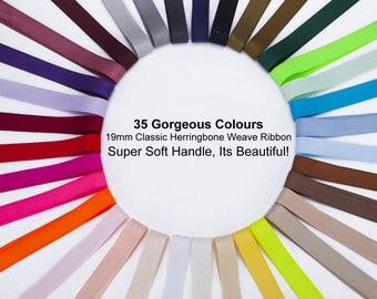 19mm x 3m Herringbone Twill Tape, Woven Soft Ribbon, Bridal Trimming, Wedding Cloth, Crafts, Quality Fabrics & Materials, 35 Vibrant Colours