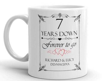 Personalised 7th Wedding Anniversary Gift Mug