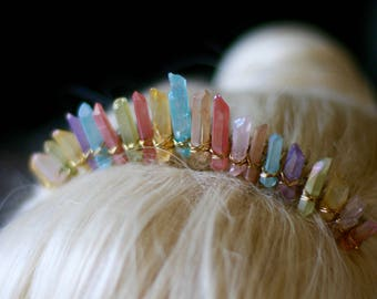 THE ISTHER Rainbow Quartz Comb Tiara Boho Hair Accessory