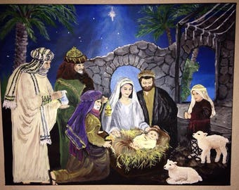 Nativity hand-painted acrylic on stretched canvas11