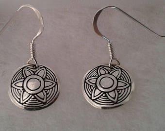 Aztec Earrings, Solid Sterling Silver Aztec Sunburst Earrings, Dangle Earrings, Tribal Earrings, Aztec Jewelry