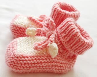 Pink Baby Booties | Knitted Baby Booties | Baby Girl Booties | Hand Knit Color Block Baby Booties