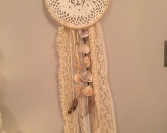 Lace, feather,  shells & beads Dream Catcher