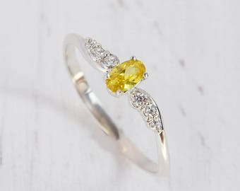 Citrine ring silver, Gemstone ring, Promise ring silver, Birthstone ring, Dainty ring, Modern ring, Delicate ring, Personalized ring