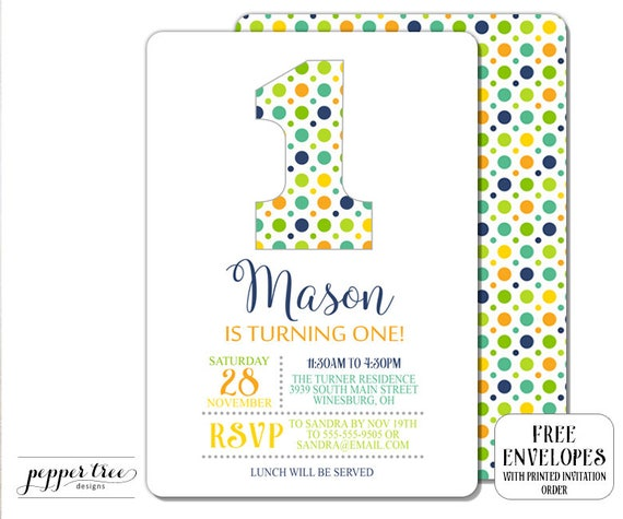 First birthday invitation for boy polka dots number 1 party invite il570xn filmwisefo
