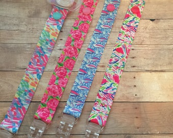 Pacifier Clips, Lilly Pulitzer Inspired, Baby Lanyards
