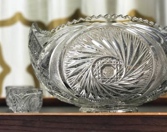 Gorgeous 14 pc Aztec Punch Bowl and Cup Set by McKee