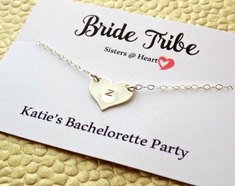 Bachelorette Party Necklace Bride Tribe Sterling Silver Heart Charm Personalized Heart Bridesmaids Gift Set 3 Gift to Bridesmaids From Bride
