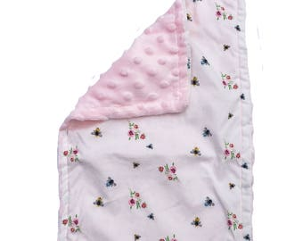 BABY BURP CLOTH - busy • bees ~ pink & white