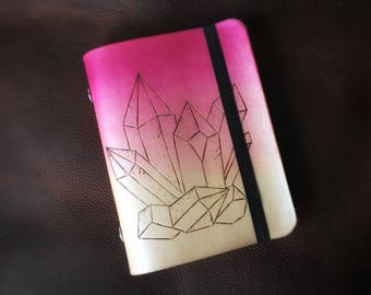 Pink Crystals Leather Sketchbook