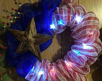 Patriotic Wreath with Lights