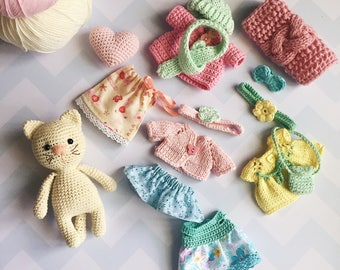 Stuffed kitty doll with clothes/Plush cat/Doll with accessories/Amigurumi animals/Plush kitty/Kitty toy/Amigurumi cat/Crochet cat/Baby gift
