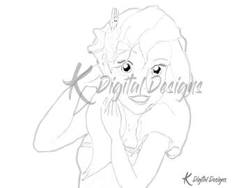 Disney's Princess Ariel Coloring Page-INSTANT DIGITAL DOWNLOAD
