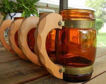 Vintage Siesta Ware Amber Glass Barrel Mugs, Set of 4, Wood Handles