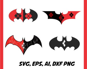 Harley Quinn and Batman in svg, eps, dxf, ai, png. INSTANT DOWNLOAD