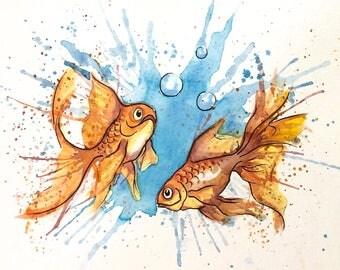 Watercolor Sketch of Goldfish