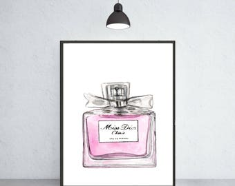 Miss Dior Cherie perfume art print Dior poster Dior warecolor Dior home decor Diorwall decor Dior painting Dior perfume art