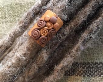Tribal Dreadlock Bead - Clay