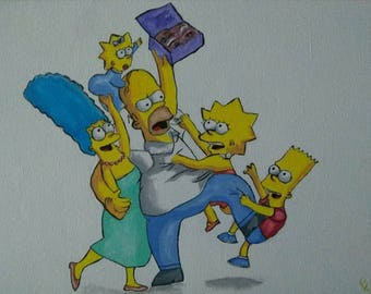 The Simpsons, Homer, Marge, Bart, Lisa, Maggie, yellow, yellow people