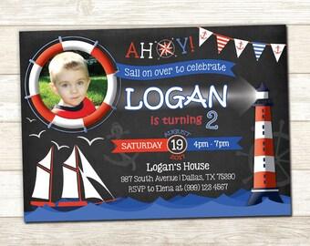 Nautical Birthday Invitation - Nautical Photo Birthday Invite - Nautical Party invitation - Sail Boat Birthday invite - Ahoy Party Invite