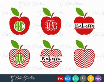 Apple SVG, Monogram Apple SVG, chevron apple svg, Split Apple Svg, Files for Silhouette Cameo or Cricut, Commercial & Personal Use.